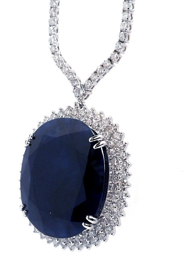 74.36ct Sapphire & 11.19ct Diamond On 18KT Gold Necklac