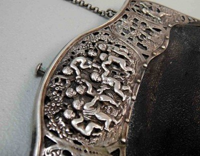 5: 150 Year Old Stamped/Signed Silver & Leather Euro