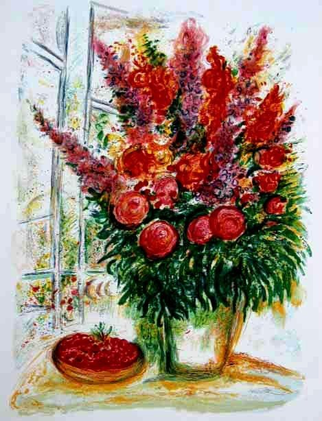 1A: Marc Chagall Bouquet With Bowl of Cherries Giclee