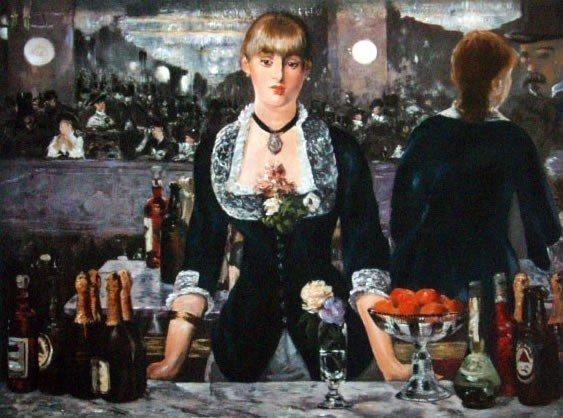"""6B: Manet """"A Bar At The Folies Bergene"""" Giclee on Pape"""