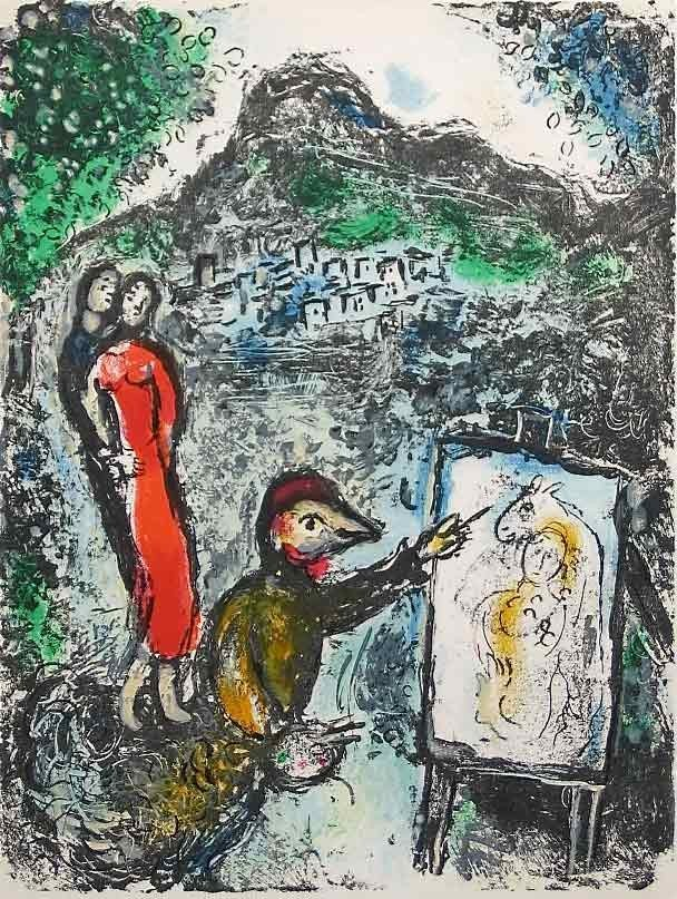 """4A: Marc Chagall original lithograph """"Devant Saint-Jean"""