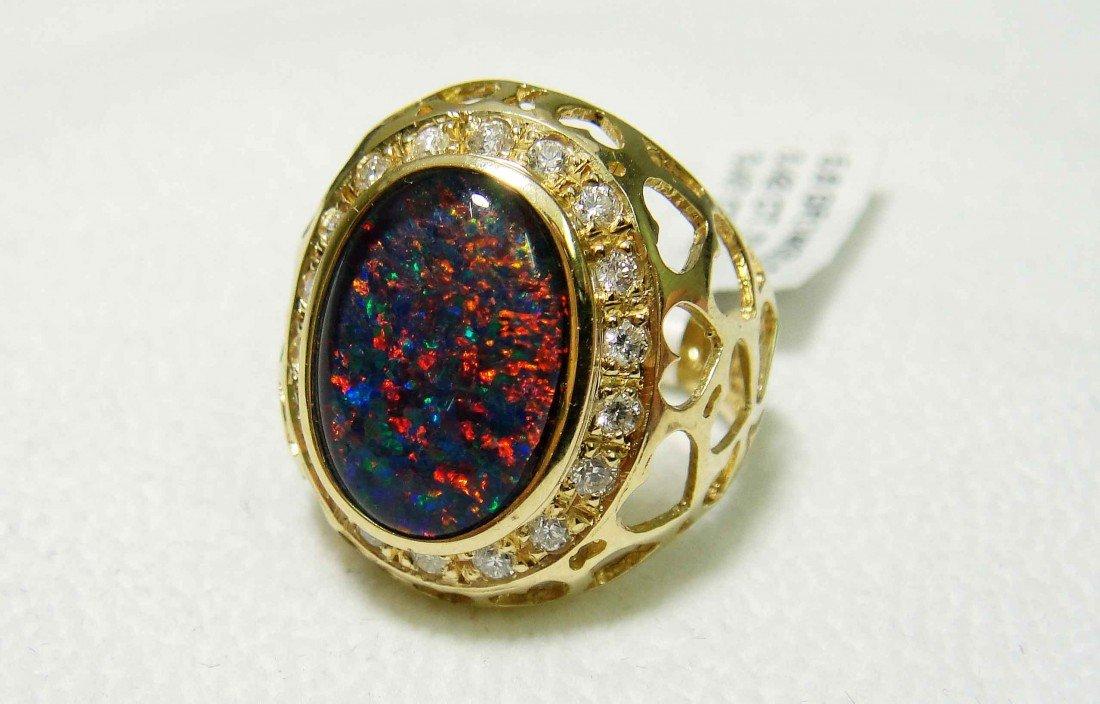 3.47ct Opal & .42ct Diamond 14KT Gold ladies Ring