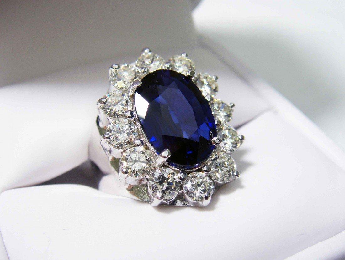 3.92ct INVESTMENT VS1 Sapphire & 2.40ct Diam 14KT Ring