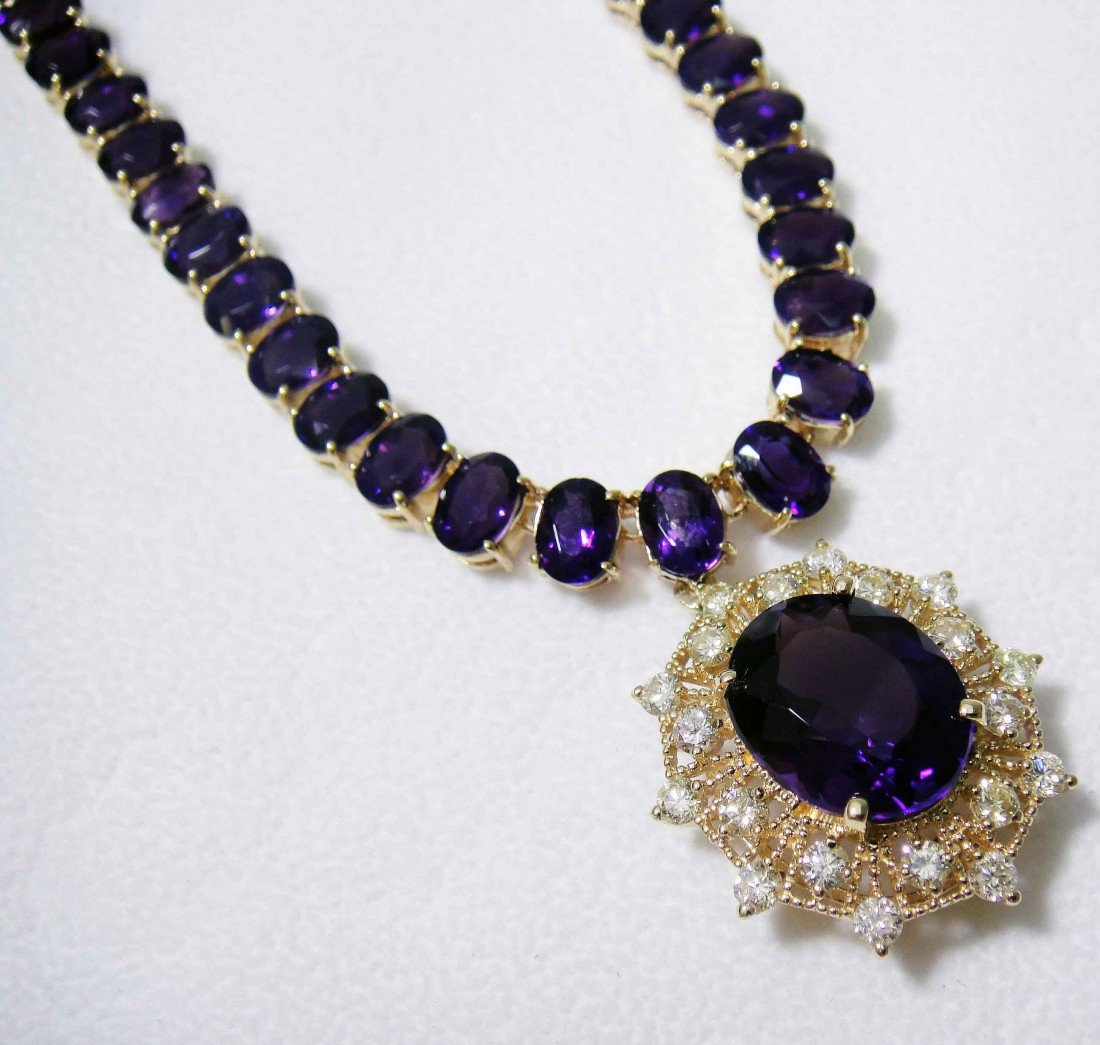 67.19ct Amethyst & 1.70ct Diamond 14KT Gold Necklace