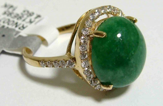 4C: 0.51ct. Diamond & 5.79ct Jadeite on 14KTY Gold Ring