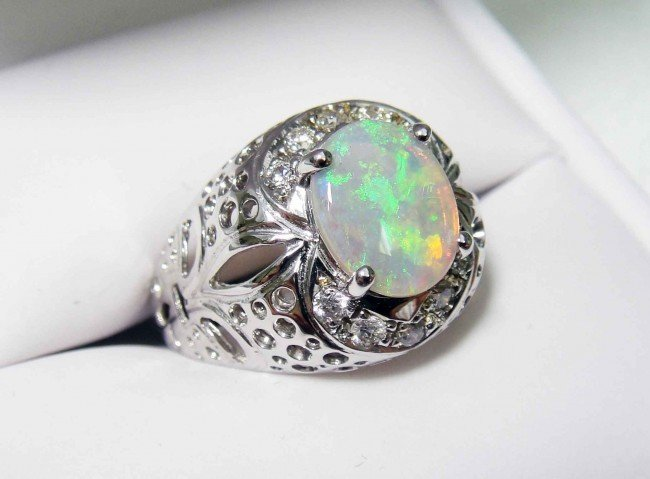 6: 1.00ct Opal & .31ct Diamond 14KT White Gold Ring