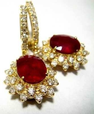 9:  7.51ct Ruby & 1.79ct Diamond on 14KT Gold Earrings
