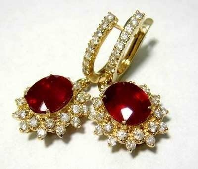 9:  7.51ct Ruby & 1.79ct Diamond on 14KT Gold Earrings - 2