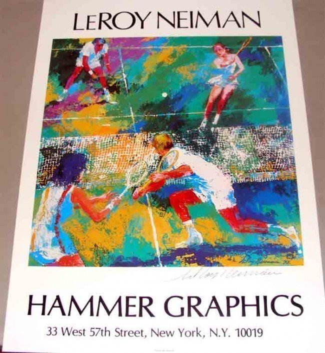"""Leroy Neiman """"Mixed Doubles"""" Signed 20X25"""" Poster"""