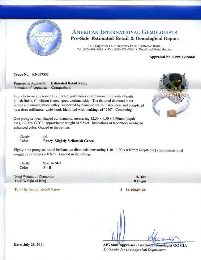 6.16ctw (5.54ct CNTR) Fancy Green Diamond 18KT Ring - 4