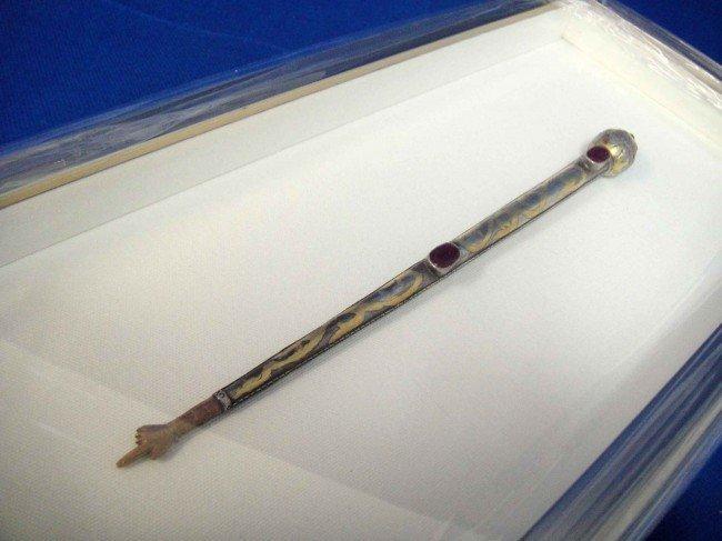 1A: Antique Jewish Gold & Silver Wash Torah Pointer Fra