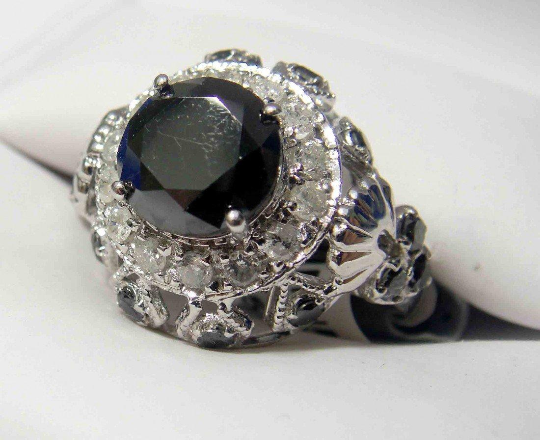 3.58ctw Black/White Diamond Silver Ladies Ring