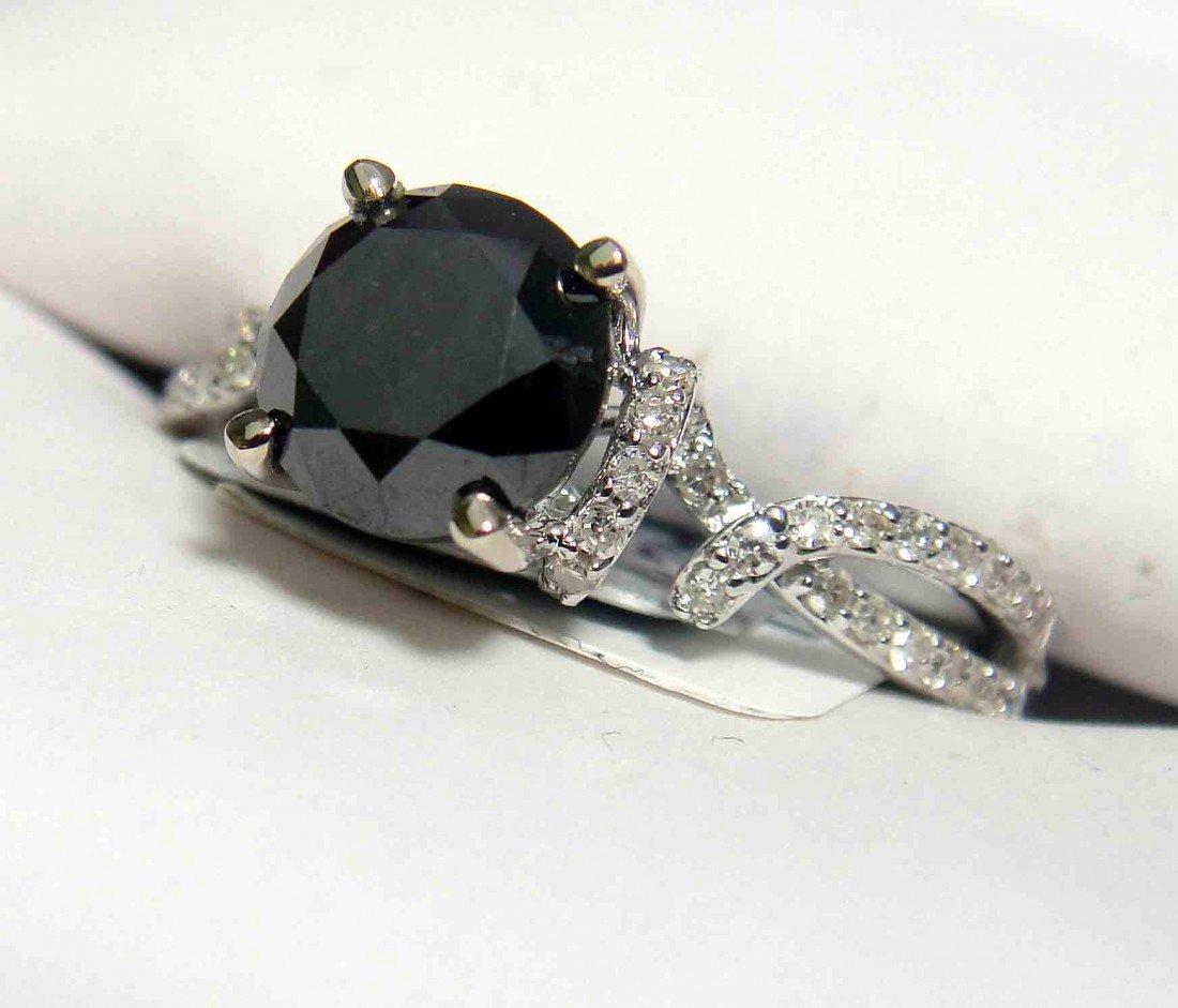 1.74ctw Black/White Diamond on 18K White Gold Ring