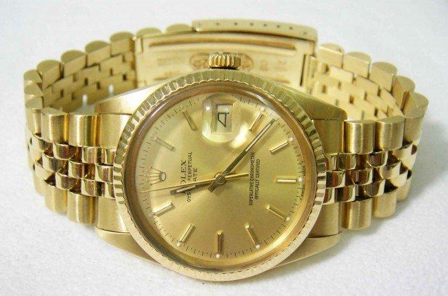 175B: Genuin Gents ROLEX 14KT GOLD DateJust Model Wrist