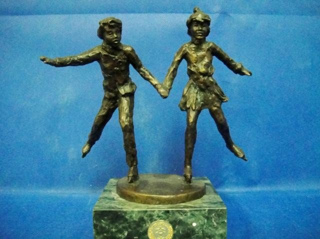 """5A: BRONZE STATUE OF """"TOGETHER ON THE GLASS"""" BY DENNIS"""