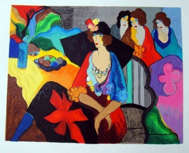 "3A: Itzchak Tarkay ""Gossip"" Serigraph Signed/Numbered"