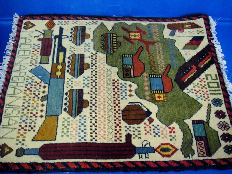 Tanks, Guns and Flag War Rug Hand Woven in Afghan.