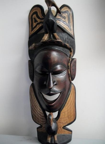 African Kenya Mask Handmade from Wood Decorative Piece