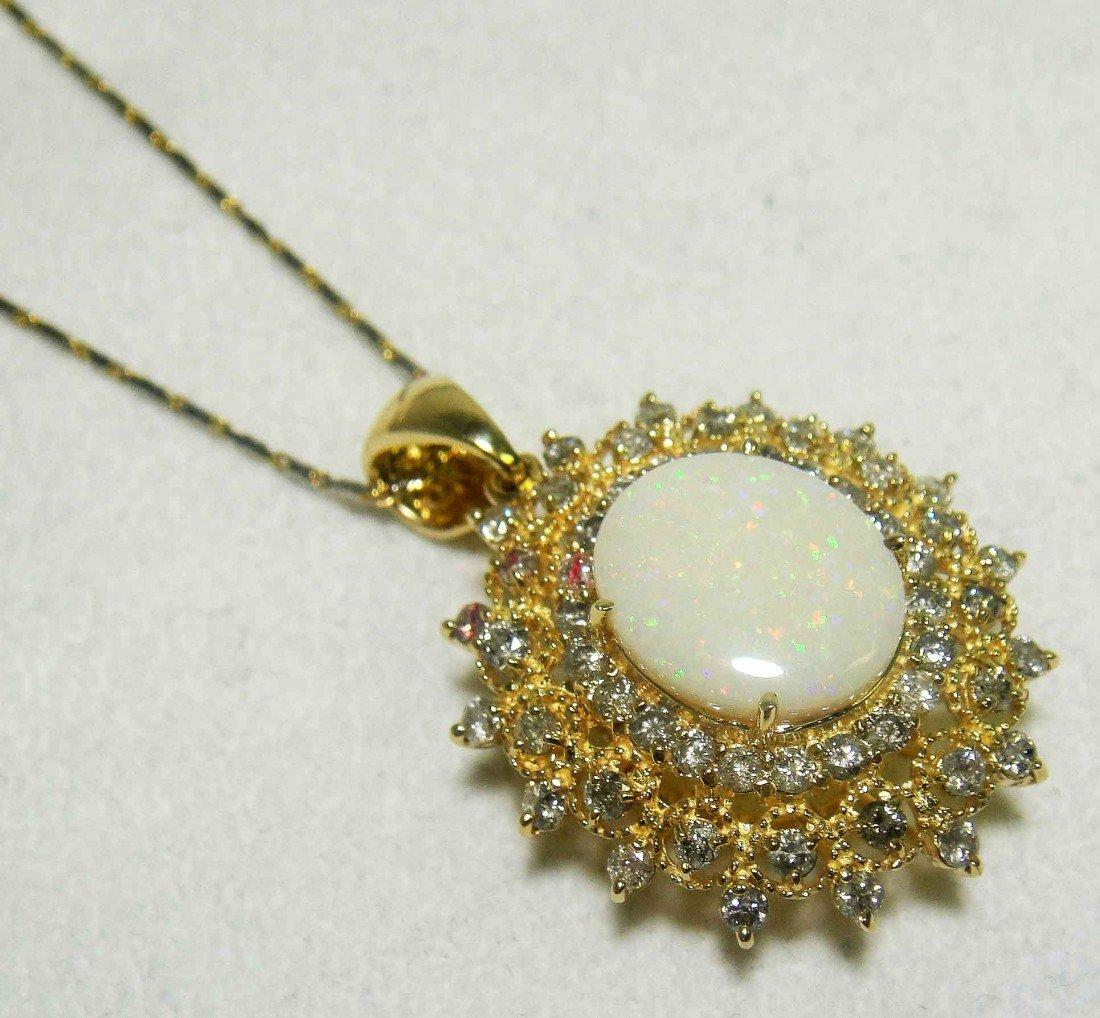 4.20ct Opal & 2.12ct Diamond 14KT Gold Pendant w/ chain