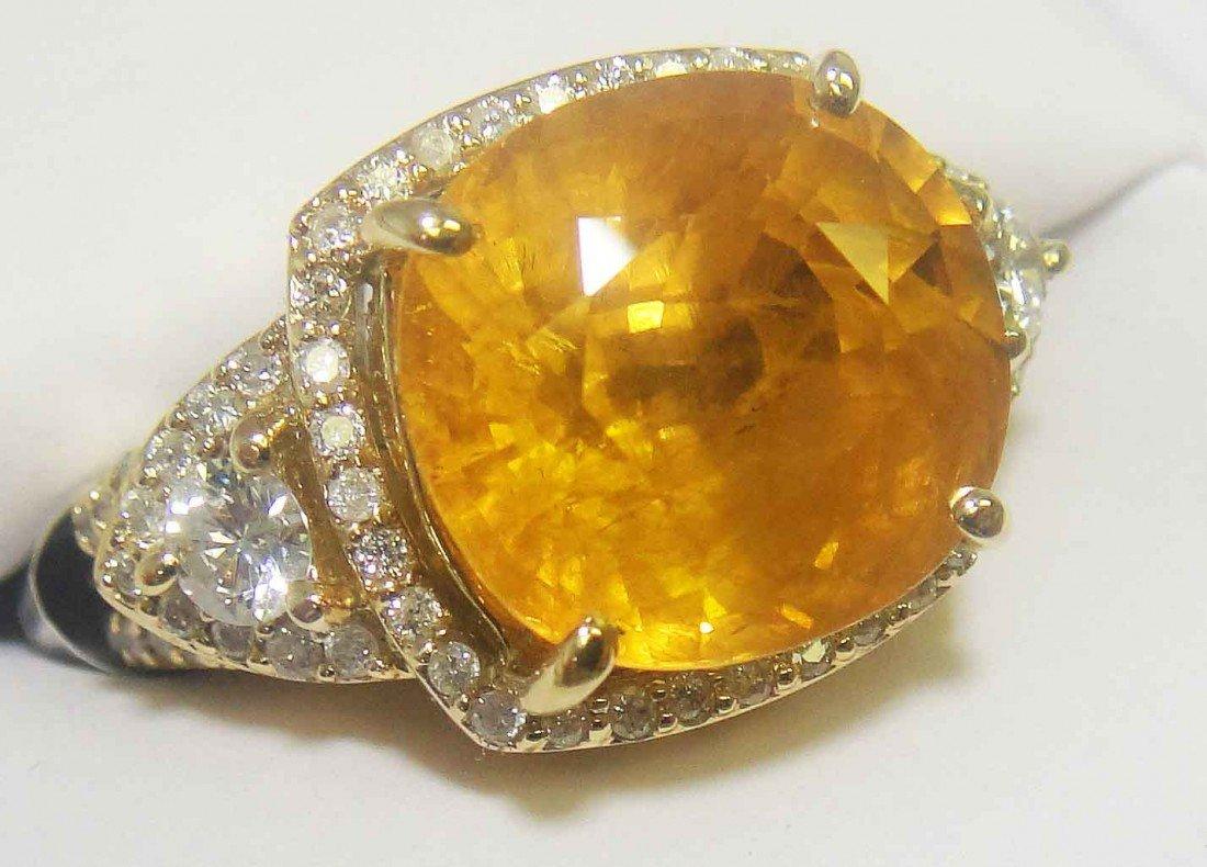 12B: 11.37ct Yellow Sapphire & 0.75ct Diam 14KT Gold Ri