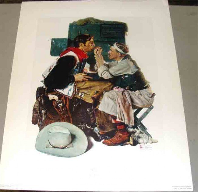 """3: Norman Rockwell """"The Texan"""" 24X30"""" Collotype"""
