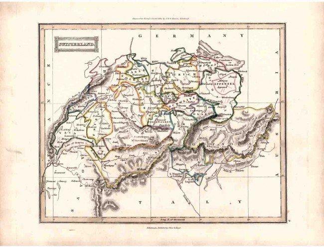 10: Antique 1800's European SWITZERLAND Engraved Map