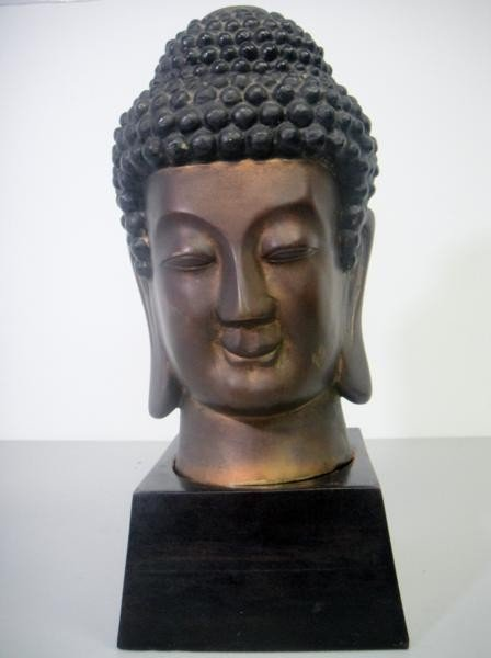 2A: BRONZE BUDHA STATUE WITH STAND AGE UNKNOWN