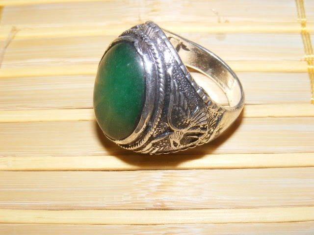 3B: CHINESE OLD Tibetan silver inlay GREEN Jade MEN`S R