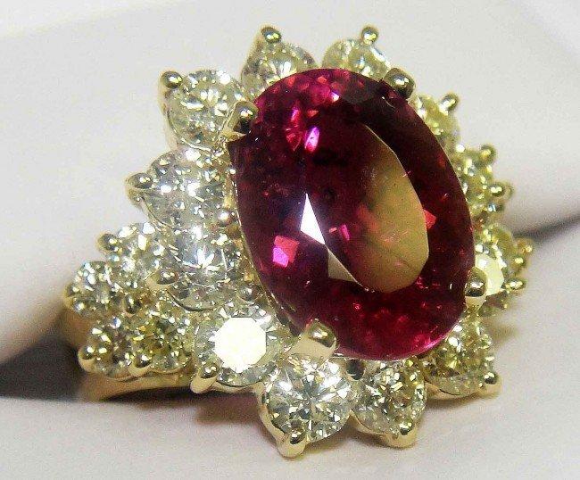 44H: 4.55ct Pink Tourmaline & 2.23ct Diamond 14KT Gold