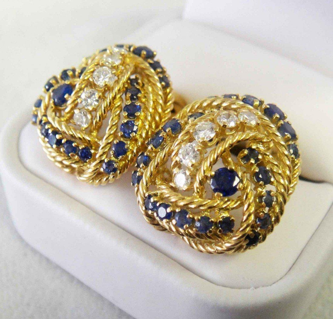 172A: 4.50ct Sapphire & .75ct Dia 18K Tiffany & Co. Ear