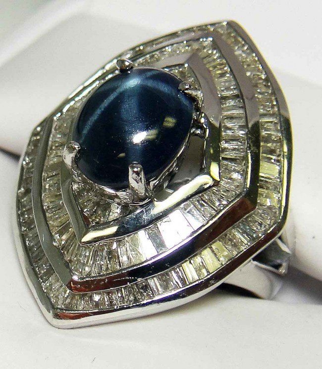 50Y: 3.41CT Star Sapphire & 2.02CT Diamond 14KT Gold Ri