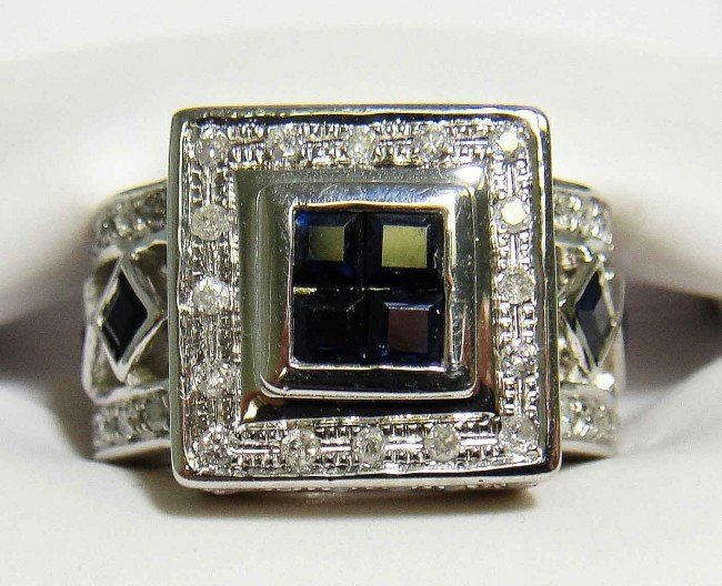 6B: 1.50ct Sapphire & .59ct Diamond on Silver Ring