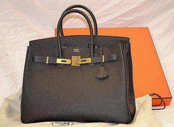 152: Authentic Black Fjord 35cm Hermes-Birkin Handbag