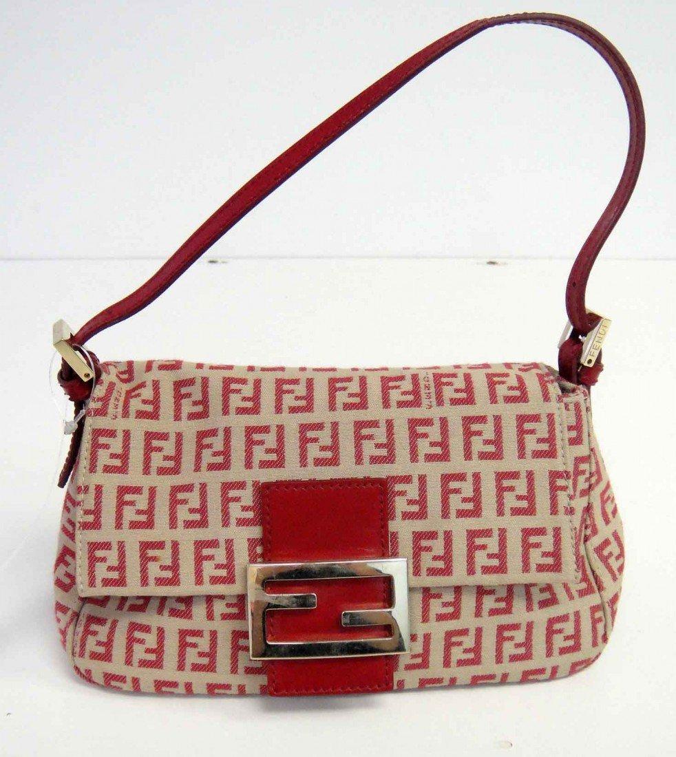 3: Genuine Red Fendi Pochette Canvas Mini Handbag