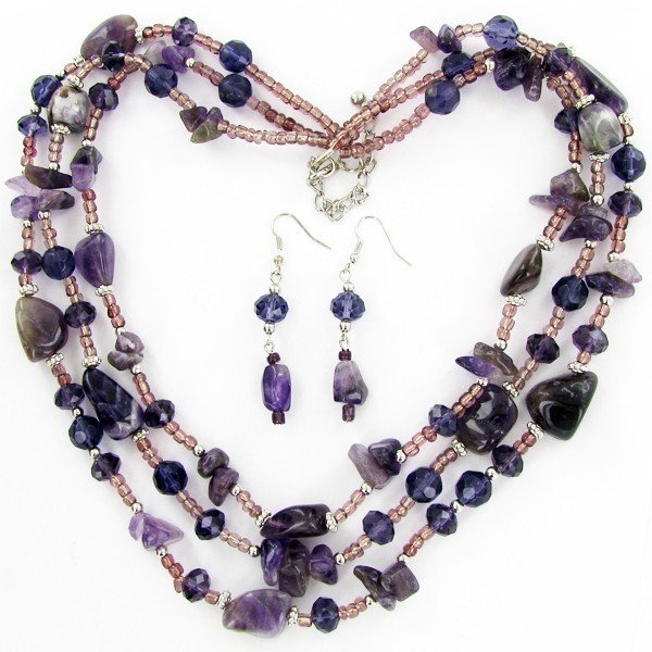6A:  Amethyst & Crystal Necklace Earring Set