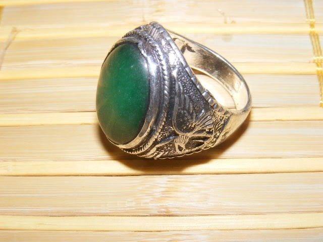 9B: CHINESE OLD Tibetan silver inlay GREEN Jade MEN`S R