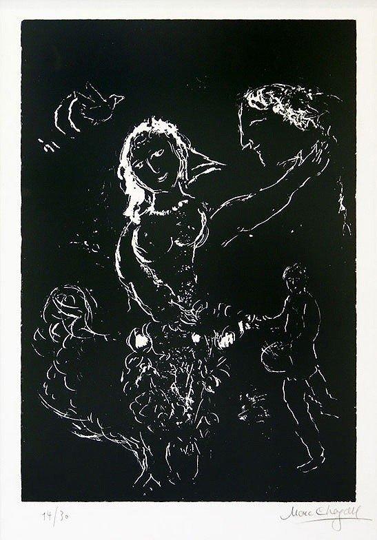 """ORIGINAL Marc Chagall """"Blanc Sur Noir"""" 14/30 Signed lit"""