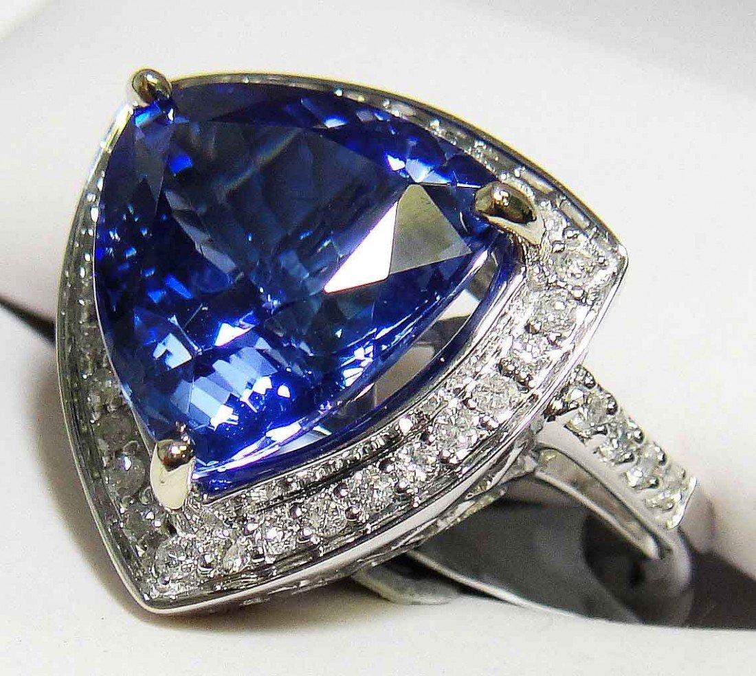 6.55ct  Tanzanite & .42ct Diamond 14KT White Gold Ring