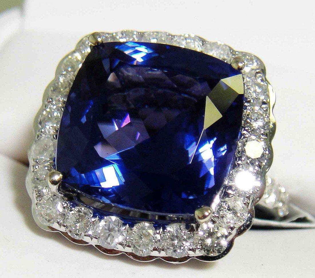 12.24ct Tanzanite & 1.85ct Diamond 14KT White Gold Ring