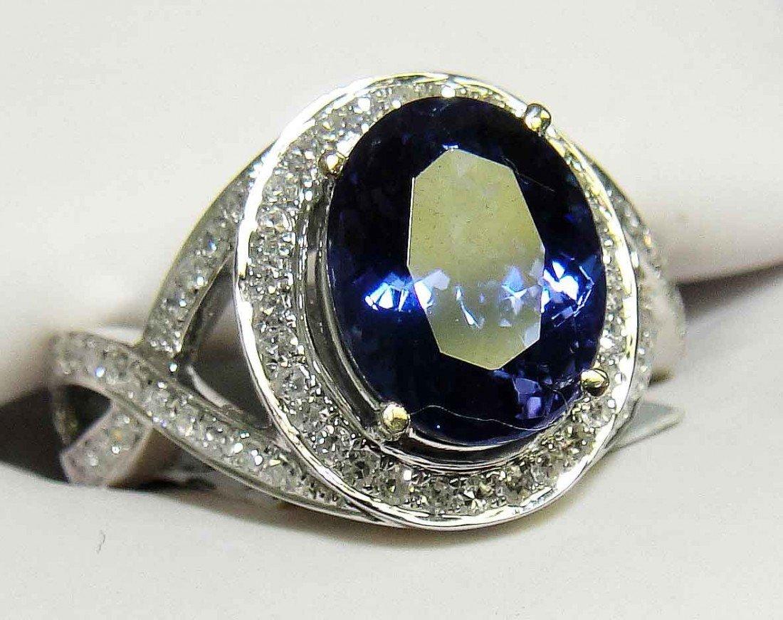 3.35ct Tanzanite & .45ct Diamond 14KT White Gold