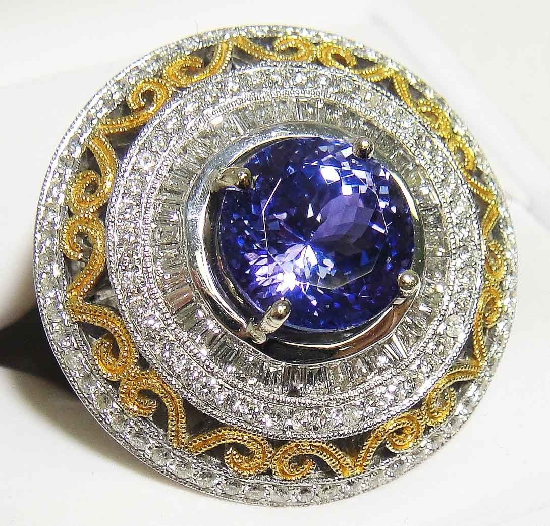 5.90ct Tanzanite & 2.09ct Diamond 14KT White Gold Ring