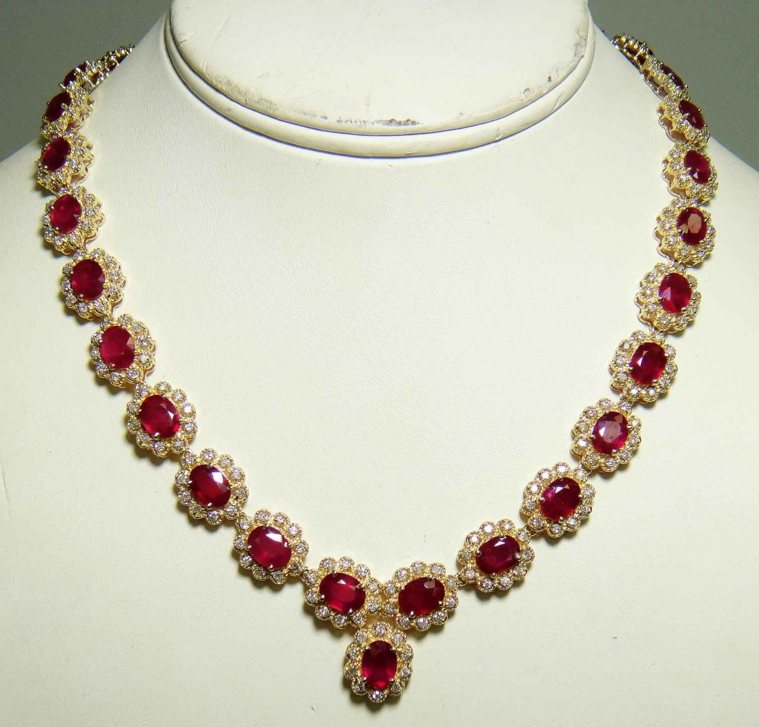 43.88ct Ruby & 5.27ct Diamond 14KT Gold Necklace