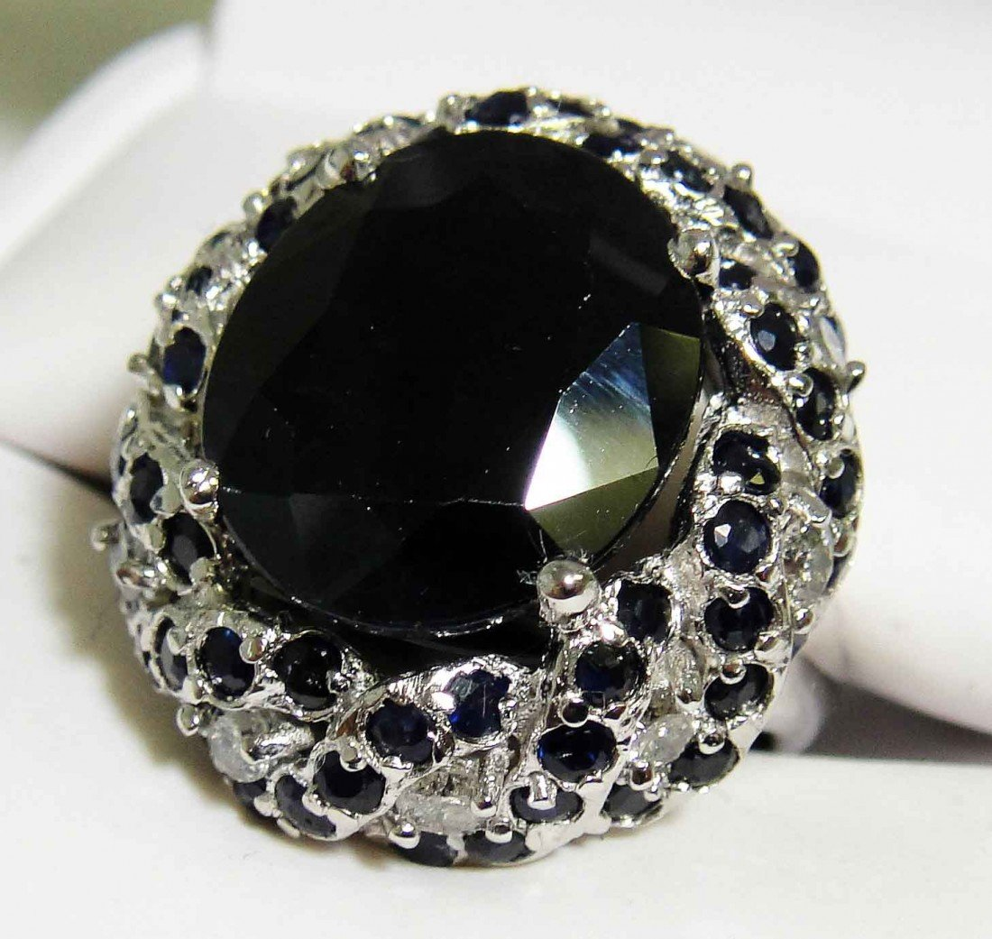 14.21ctw Sapphire & 0.69ct Diamonds Silver Ladies Ring