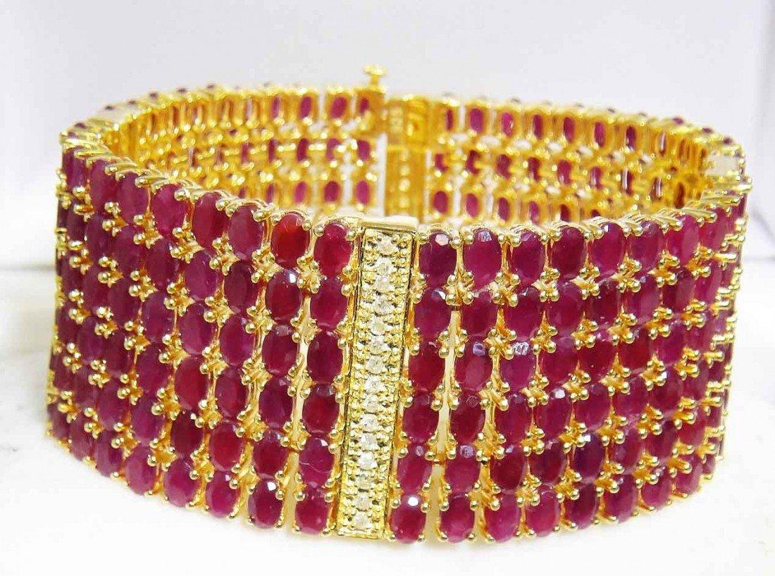 84.95ct. Ruby & 0.95ct. Diamond Gold Plated Bracelet