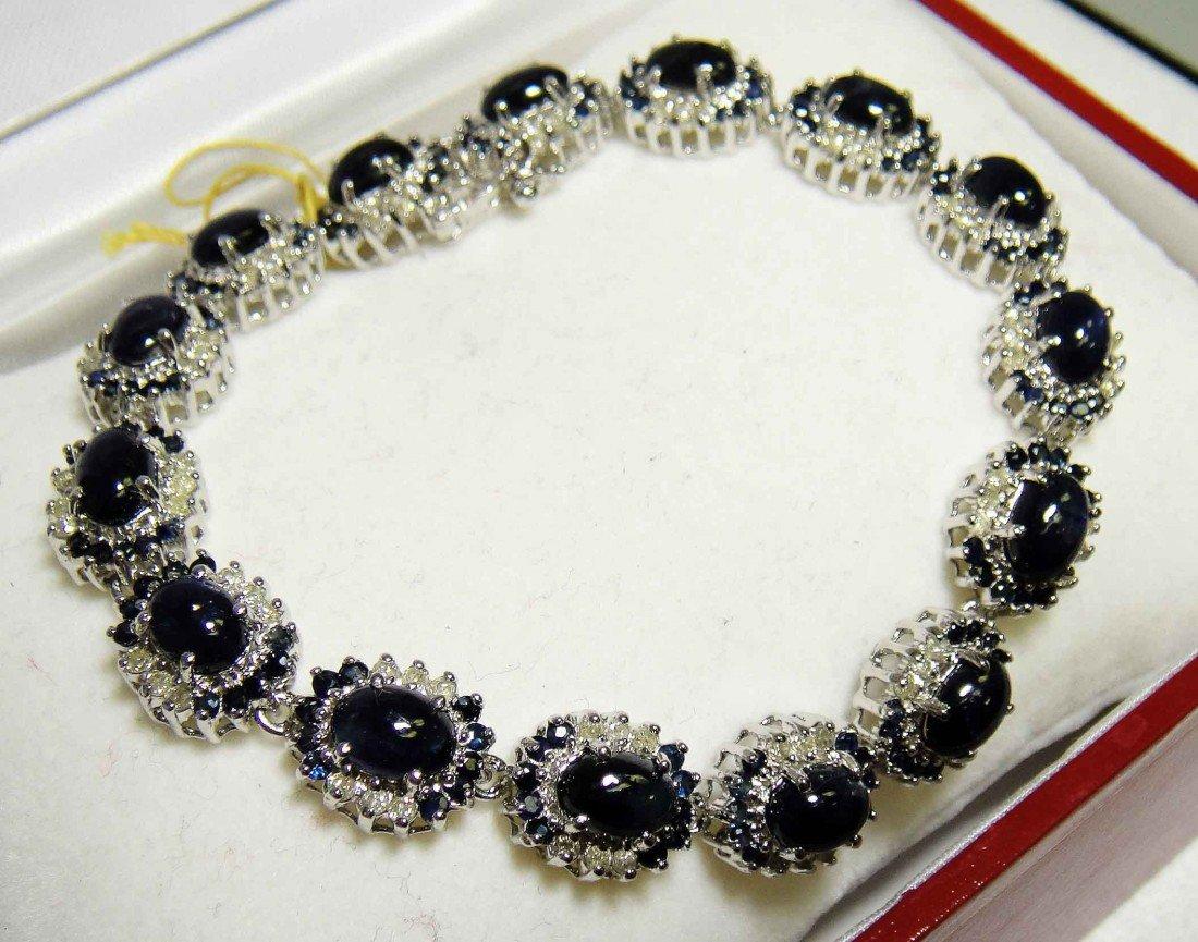 21.64ct Sapphire & 1.44ct Diamond Silver Bracelet
