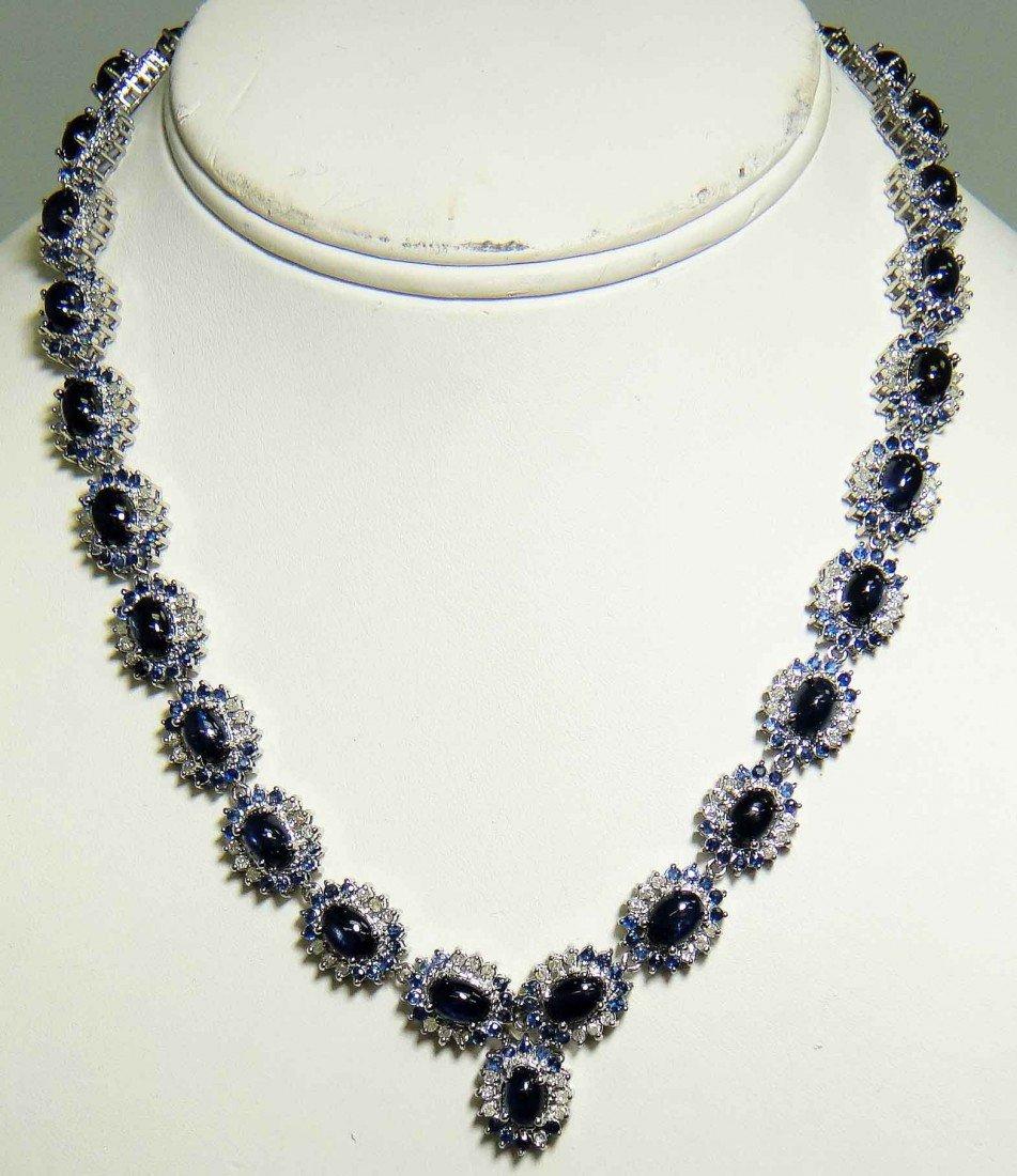 47.98ct Sapphire & 2.81ct Diamond Platinum Plated Neckl