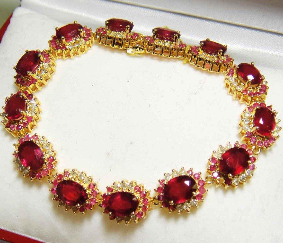 33.91ct Ruby & 1.64ct Diamond 18K Plated Bracelet