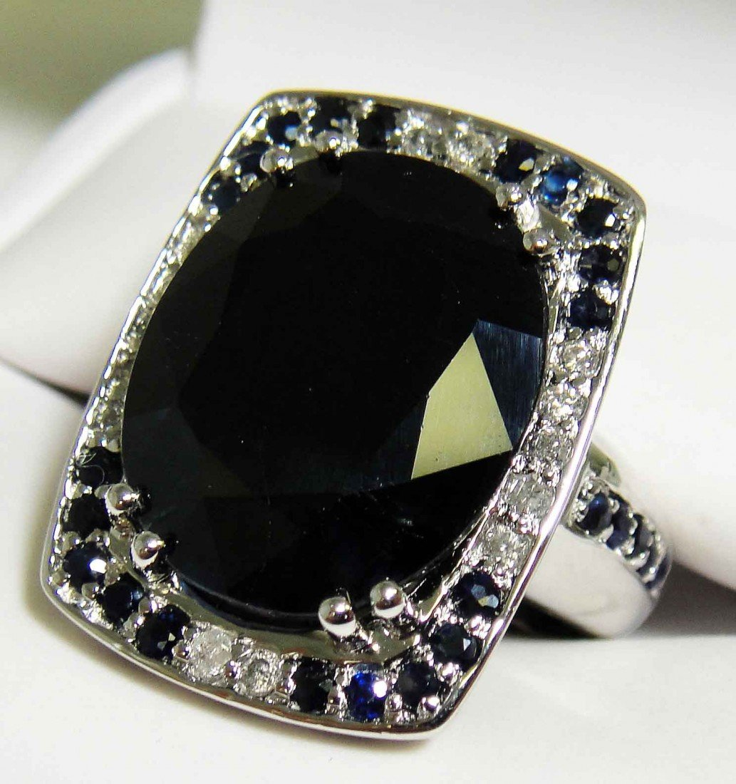 18.56ct Sapphire & 0.21ct Diamond Platinum plated Ring
