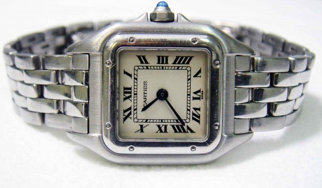 4B: Ladies Stainless Steel Cartier Panthere Wristwatch