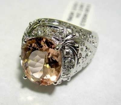 7: 4.53ct Morganite & .38ct Diamond on 14KT White Gol